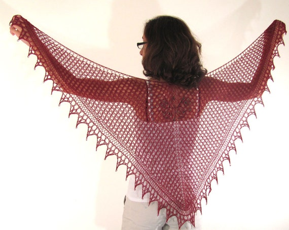 Deep Red Burgundy Hand Knit Lace Shawl with Beads at the Triangle Points