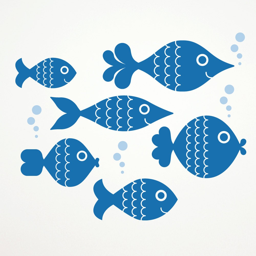 Ocean big fish wall decal stickers kids by graphicspaces for Fishing stickers and decals