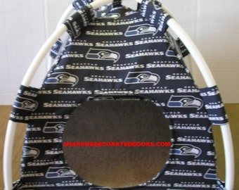 Large Handmade Seattle Seahawks Pup Tent Pet Bed For Cats / Dogs / Ferrets / Piggies Or Used For A Toy Box / Barbie Doll House
