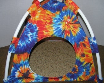 Small Tye Dye Print Fabric Pup Tent Pet Bed for cats/ dogs/piggies /A toy box/ Barbie Doll House