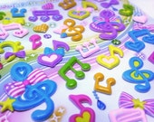 Cute Japanese Puffy Stickers Whimsical Musical Notes from Mind Wave Inc.