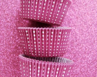 Pink Magenta  Dotted Cupcake Liners (50)