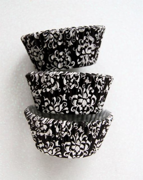White and Black Damask Cupcake Liners Standard Size 50 per pack