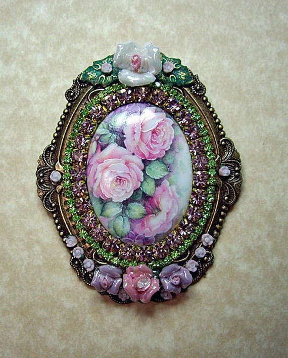 Pink Roses Garden Cameo Pin Brooch/Pendant NEW One Of A Kind Signed