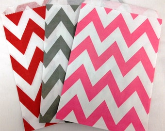 SALE- Chevron Paper Treat Bags- 5 x 7 - Birthday Treat Bags, Wedding Favors, Baby Shower Favors