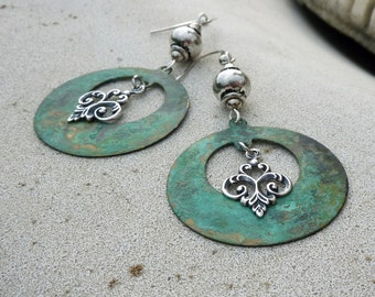 Bohemian Chandelier Earrings, Patina, Teal, Dangle, Silver, Verdigris, For Her, Gift, Bohemian Wedding, Rustic, Green, Blue, Charm, Drop