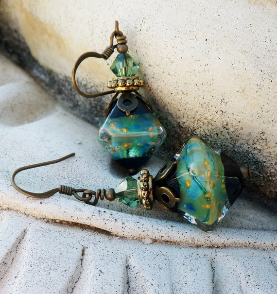 Black Friday, Cyber Monday Sale, 10% off Teal Green Blue Lampwork Glass Earrings with Swarovski Crystal and Antique Gold and Brass
