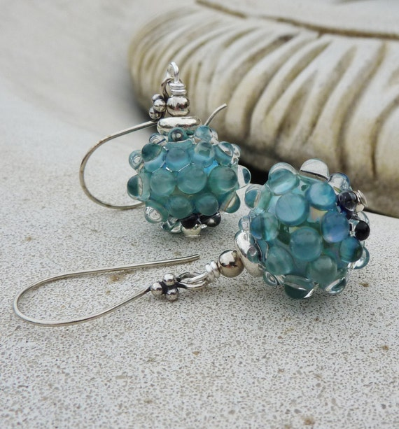 Blue Bubbles Lampwork and Sterling Silver Earrings