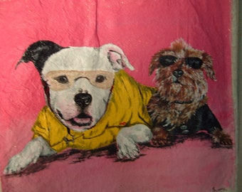 Dog Portrait Custom Tote OOAK