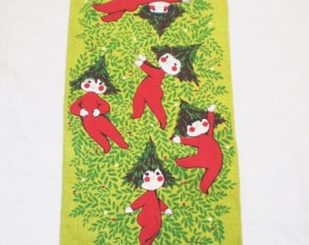 Vintage Linen Christmas Towel with Tree Elves in Red
