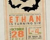 Vintage Halloween Birthday Invitation - digital design