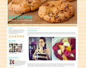 Blogger Premade Template: A Little Focus, Show off your photography - Photo, photo blog, blue, orange, minimalist, icons, cookies