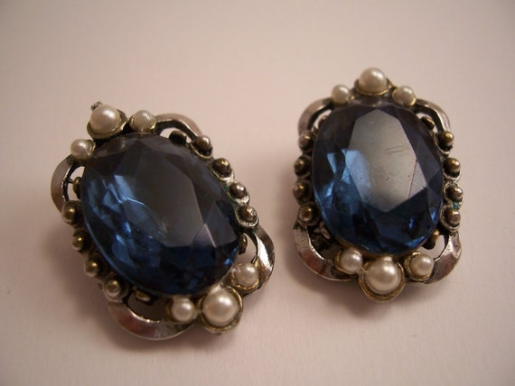 Large Vintage Sapphire Glass & Faux Pearl Earrings