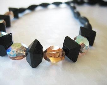 Glass Beaded Necklace, Matt Black, Amber, Aurora Borealis, Vintage Beads, Classic Design, Faceted Squares, Three Dimensional