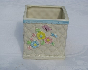 Vintage 1985 Geo.Z.Lefton  Planter Flowers and Butterfly
