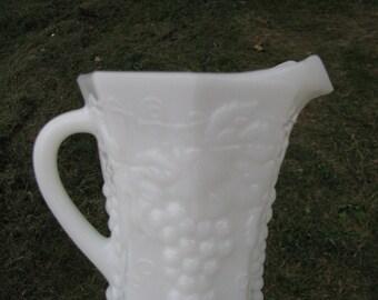 White Milk Glass Cream Milk Pitcher Grape Design