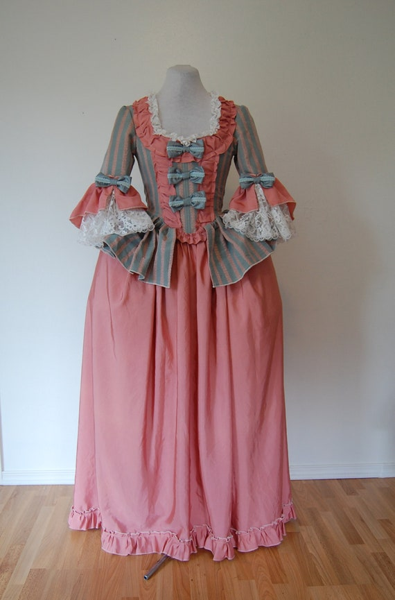 Vintage damask Marie Antoinette rococo Victorian inspired costume dress fits waist 26 to 28 inches comes with hips