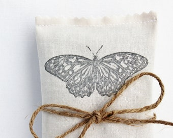 Butterfly No. 4 Lavender Sachet, Garden Wedding Favor, Cotton Anniversary Gift