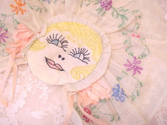 1930's Embroidery Lady Flowers and Silk Ribbon