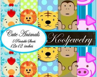 Cute animals digital paper pack - No.121