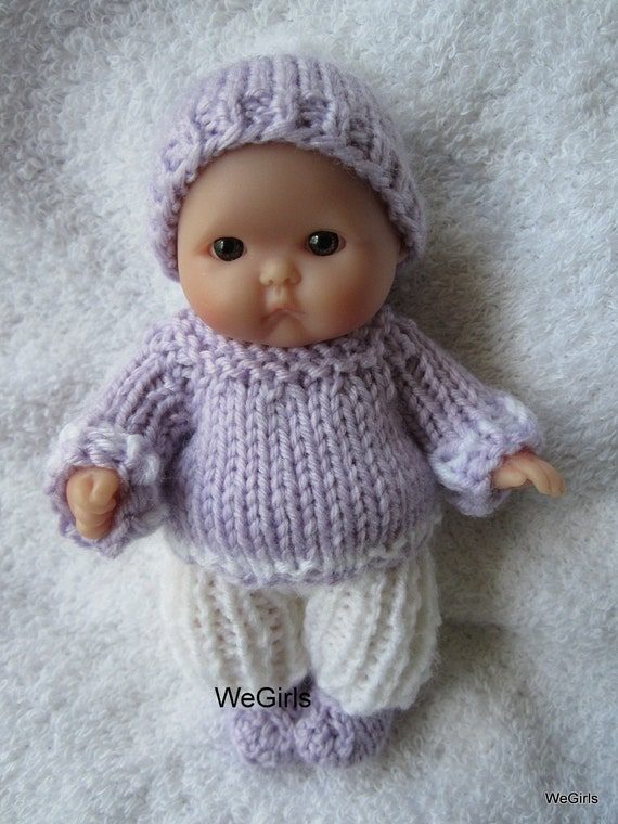 Knitting Patterns For 8 Berenguer Doll Clothes : Knit Doll Clothes 5 inch Lots to Love Berenguer Baby by ...