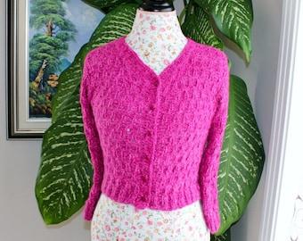 100 PERCENT Angora Rabbit HANDMADE Knit Colour Breast Cancer Pink Angora Bolero / Will fit  Size Small to Medium// Ready to shipped Today