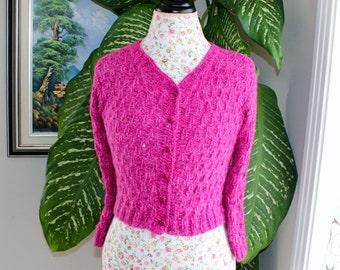 100 Percent Angora Rabbit Handmade Knit Colour Pink Angora Bolero/Will fit  Size S- M/Ready to shipped Today