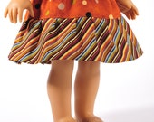 18 inch doll clothes, American Girl doll clothing, ruffled twirl skirt, dots and stripes, earth tones, autumn fall colors, PattiKuz couture
