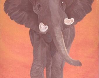 "Original Painting...Elephant...Acrylic 8"" x 10"""