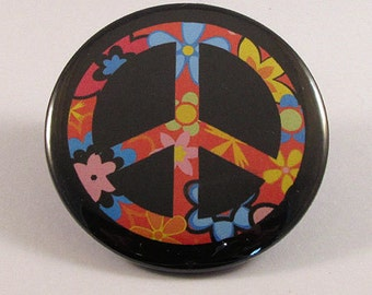 Peace sign pocket mirror