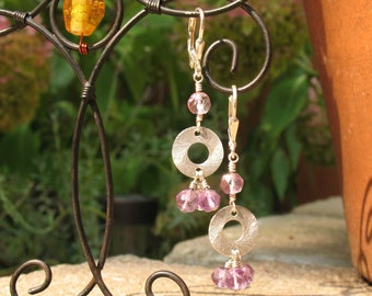Amethyst and Brushed Silver Ring Earrings
