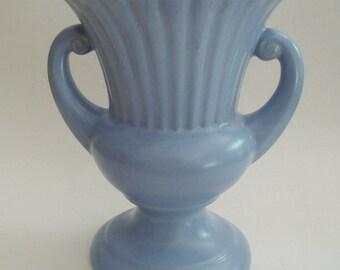1970s Large Vintage Blue Pottery Vase Cottage Chic