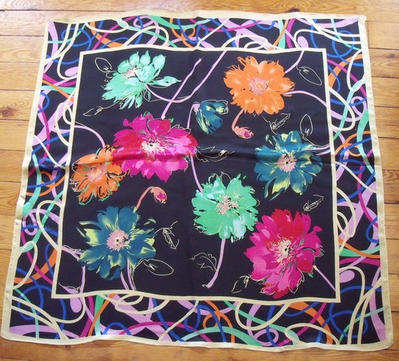 Beautiful Silk Floral Scarf - Pink, Green, Orange on Black, 32 inches Square