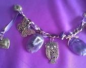 Amethyst Goddess Owl Butterfly Purple Ribbon Charm Bracelet
