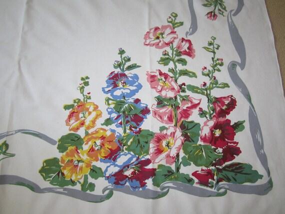Vintage Tablecloth Floral Cotton