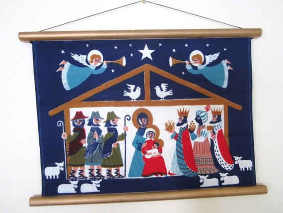 SOLD/RESERVED for J Vintage Christmas Nativity Swedish Wall Hanging