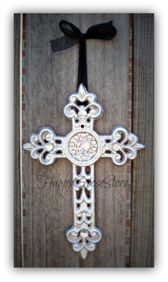 Iron & Rhinestones Wall Hanging Cross - Sparkling Silver (or your color choice)