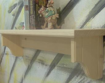 unfinished wood shelves