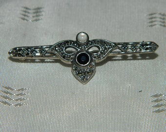Vintage 925 Sterling SHA Marcasite Black and Milky White Stones