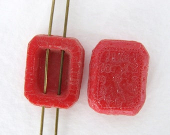 Vintage Glass Beads Red Watch Octagon Distressed Clocks Sew On Two Holes Czech 18mm vgb0543 (4)