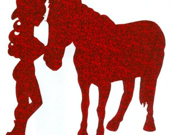 Horse and Cowgirl Pin Up Silhouette, Red Glitter Vinyl Decal