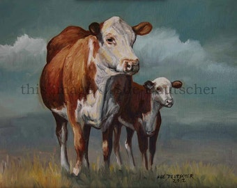 Cow Cattle Heifer Calf Hereford art print 11x14