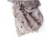 Hand painted silk scarf Halloween party-Spiders in a net hand painted silk chiffon scarf in a grey mood