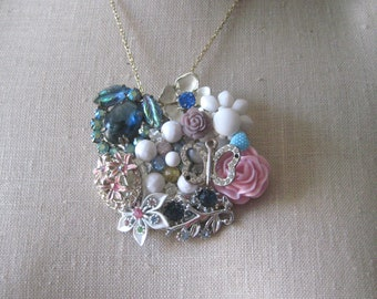 Pastels White Vintage brooch Collage necklace Lavender Periwinkle Pink Blue Silver Butterfly Rhinestone Shabby Chic OOAK