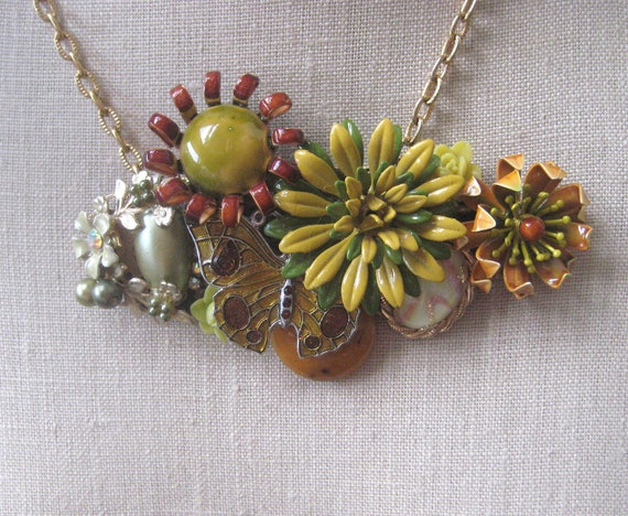 Olive Mustard  Brown Necklace Vintage Brooch Enamel Flower Green Autumn Fall Colors Pumpkin Shabby Chic OOAK Collage