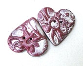 Polymer Clay Buttons, Dark Red Purple Hearts with Silver Textured