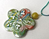 Flower Hanging Ornament Double Sided Textured Bronze Green Silver