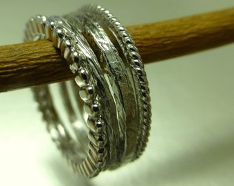 Stacking rings with texture. 14k white gold stacking rings. Textured rings. Thin bands.
