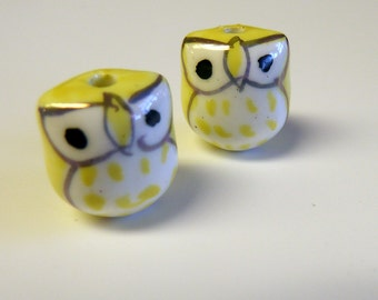 Yellow Bright eyed baby Owls Beads