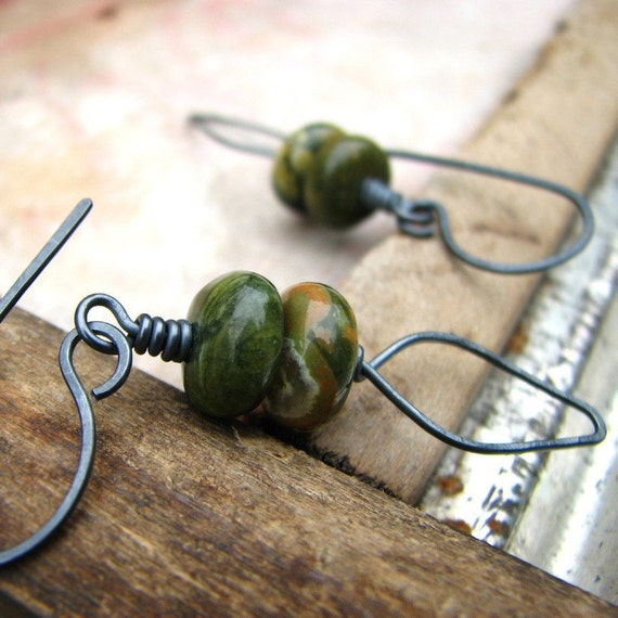 Hammered sterling silver and rhyolite earrings oxidized rustic earrings - The Edge of the Woods